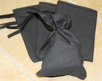 "Black Canvas Blank Money Bag Bank Deposit Transit Coin Sack Bag 6.5x9.5"" Tie String"
