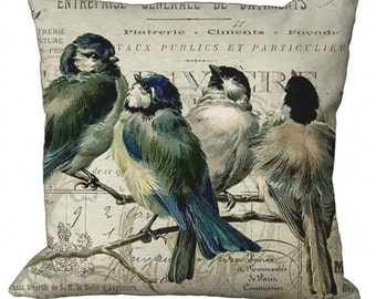 Bluebirds on a branch on invoice Square in Choice of 14x14 16x16 18x18 20x20 22x22 24x24 26x26 18x12 20x13 24x16 inch Pillow Cover