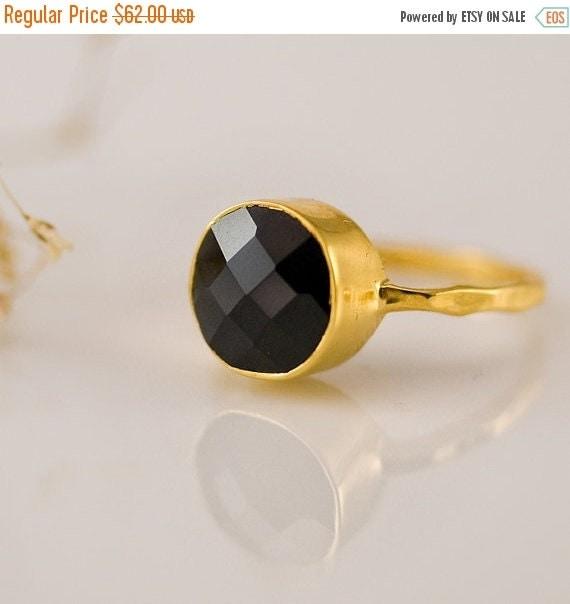 SALE - Black Onyx Ring Gold - Gemstone Ring - Stacking Ring - Gold Ring - Round Ring - Stack Ring - Gem Ring