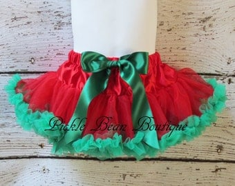 Girls Christmas Pettiskirt - 0-9 mo - Red Green Petti Skirt Tutu Baby Toddler Kids - Holiday Pictures Party Outfit - Christmas Tutu Outfit
