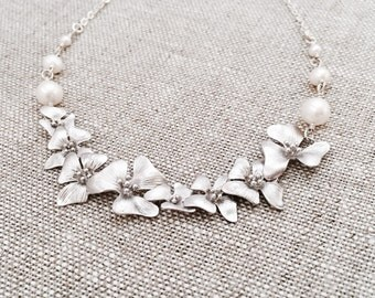 Silver Cherry Blossom Necklace, White Freshwater Pearls, Sterling Silver Chain, Cascading Blossom Flower Necklace