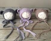 Knit Baby Alpaca Newborn Bear Bonnets // Photography Prop //