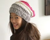 Chunky Knit Slouch Hat in Pink, Light Grey and Cream Acrylic // The Caraway Slouch