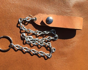 Raw Horsehide Leather Belt Fob and Chain- Horween Leather