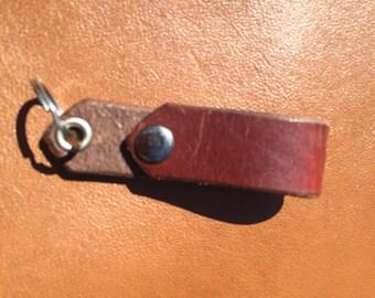 Burgundy Latigo Leather Belt Fob-  Horween Leather