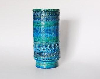 Hand Built Large Italian Blue Mid-Century Rimini Blu Vase - Aldo Londi Bitossi