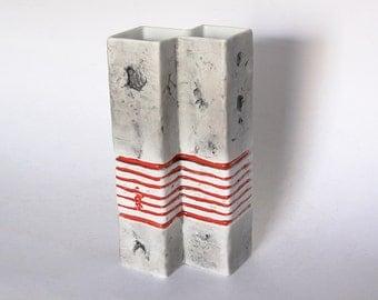German Tall Grey Red Stripes Square Vase - Gerold Porzellan