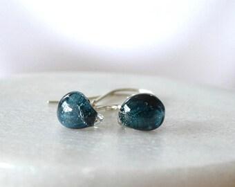 Teardrop Earrings, Blue Earrings, Glass Drop Earring, Lampworked Glass Earring, Ocean Blue Earrings
