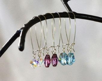 Interchangeable Earrings, Kidney Earring, Mix and Match Jewelry, Blue Purple Earrings, Mothers Day Gift
