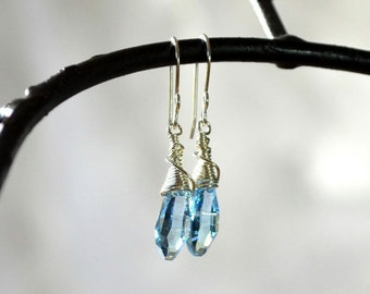 Aqua Blue Crystal Earrings, Blue Swarovski Earrings, Handmade Earrings, Baby Blue Earrings, Wire Wrapped Earrings
