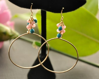 Opal Turquoise Hoop Earrings, Multicolor Gold Cluster Earrings, Opal Turquoise Jewelry, Pink Blue Earrings, Colorful Bohemian Jewelry
