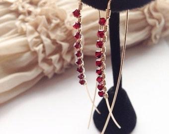 Garnet Earrings, Red Crystal Earrings, Garnet Jewelry, Birthstone Jewelry, Gold Red Earrings, Red Crystal Jewelry