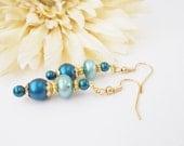 Blue Pearl Earrings, Pearl Drop Earrings, Capri Blue, Navy Blue Earrings, Teal Beaded Earrings, Clip On Earrings, Dangle Earrings, Bridal