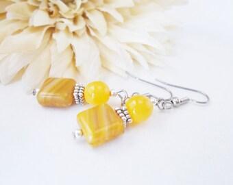 Mustard Yellow Earrings, Bohemian Earrings, Gift for Her, Glass Drop Earrings, Dark Yellow Beaded Earrings, Clip On Earrings, Nickel Free