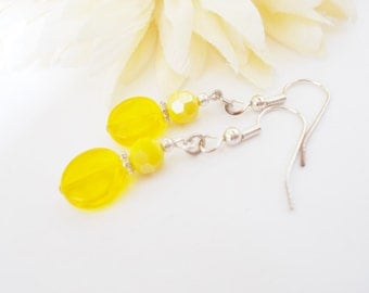 Sunshine Yellow Crystal Earrings, Bridesmaid Gift for Her, Bright Yellow and Silver Beaded Jewelry, Womens Gift for Sister, Drop Earrings