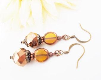Copper Drop Earrings, Czech Glass Earrings, Crystal Earrings, Topaz Earrings, Boho Earrings, Bronze Earrings, Bohemian Beaded Earrings