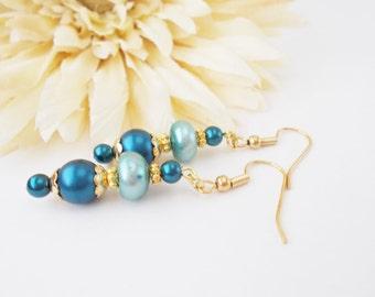 Boho Blue Pearl Drop Earrings, Capri Blue Earrings, Gift for Her, Navy Blue Earrings, Bohemian Teal Beaded Earrings, Clip On Earrings