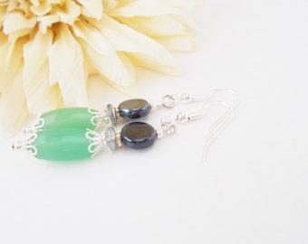 Mint Green Earrings, Dark Gray Earrings, Beaded Earrings, Bridal Earrings, Wedding Earrings, Mint Gray Glass Drop Earrings, Clip On Earrings