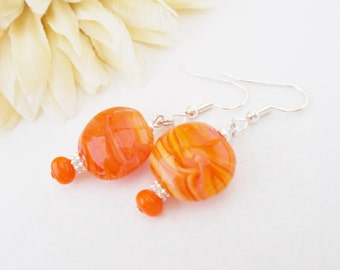 Orange Lampwork Earrings, Gift for Her, Glass Drop Earrings, Sister Gift, Clip On Earrings, Tangerine Earrings, Red Orange Beaded Earrings