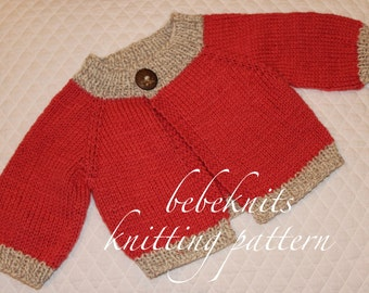 French Baby Knitting Patterns : Bebeknits Simple French Style Baby Cardigan Knitting Pattern