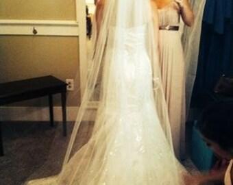 "Cathedral length wedding bridal veil, 80"", 90"" 108"" 120"" veils, white, ivory, diamond white"