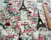 Paris Eiffel Tower and Roses Toile Natural premium cotton fabric - Timeless Treasures Paris Rendezvous Collection - eiffel tower,pink roses