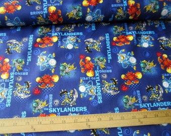 Skylanders Characters Bring to Life Royal premium cotton fabric from Camelot Cottons