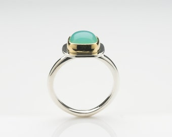 Opal Silver and gold ring non-traditional alternative engagement ring - Birthday present - Anniversary Gift for her - Free Shipping