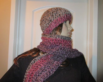 Grey and Magenta Scarf and Hat Set Ready to Ship