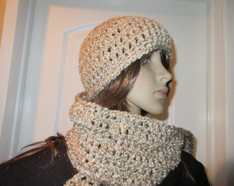 Rococo Beige  Scarf and Hat Set Ready to Ship