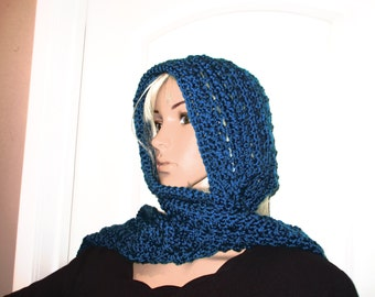 Scoodie Hooded Scarf Beautiful Elegant Teal Blue Hooded  Scarf Neck Warmer all in One