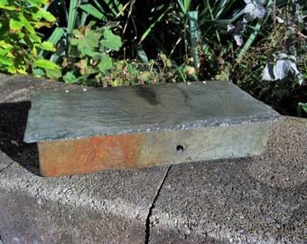 Slate box with double hinged lid made from weathered recycled slate. #LL-25