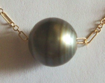 14k yellow gold filled chain necklace and 13x12.1mmTahitian pearl