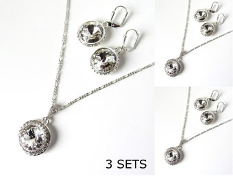 Bridal Party Jewelry Set, Set of 3, Swarovski Crystal Necklace & Earrings, Bridesmaid Gifts, Bridesmaid Jewelry Set of 3, Wedding Jewelry