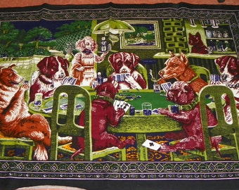 Vintage Dogs Playing Poker Tapestry Wall Hanging - Large - 40 X 58 Great for Bar Game Room Man Cave Rec Room