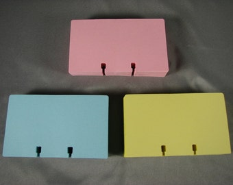 """300 Pastel Pink Blue Canary Yellow Rotary File Refill Cards 3 x 5"""" Fits Rolodex"""