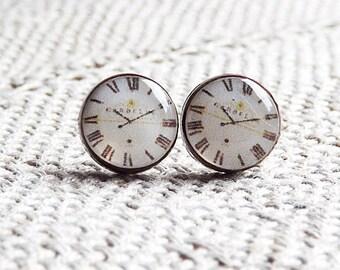 Antique clock- Stud Earrings- Clock stud earrings-vintage earrings - beige- clock earrings