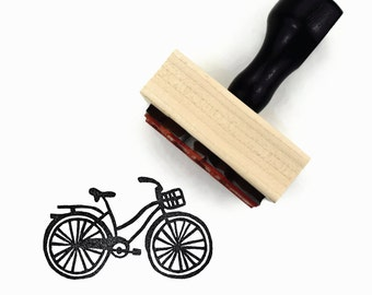 Bike Stamp - Beach Cruiser Bicycle - Hand Drawn Rubber Stamp - Sunny Summer Stamps