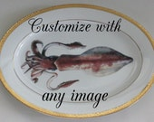 """Gold Squid OR CUSTOM Platter, 14"""", Sealife Dish, Nautical Dinnerware, Ocean China, Octopus Plate, Sea Life, Customized/Personalized Avail."""