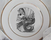 Gorgeous Gold Sugar Skull China/Dishes, Foodsafe, PAYMENT PLANS, Discount for Whole Sets, Day of the Dead Plates, Sugarskull, Dia Muertos