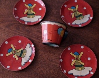 1940's Painted Tin Doll Dutch Windmill Saucers/Plates and Floral Balloon Cup