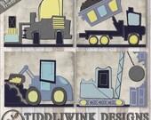 Construction Nursery- Wall Art for Nursery- baby boy nursery decor, boy's room art, transportation nursery prints, gray construction art