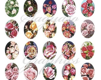 Roses Art Soft Blooms Ovals - - Digital Collage Sheets - 30x40mm Ovals for Jewelry Makers, Party Favors, Crafts Projects