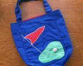 Vintage Golf Tote Bag, Golf Purse, Golf Bag, Polka Dot, Polka Dots, Tee Time. Golfer Bag