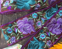 "Harvest Blossom: purple, Aqua, Burgundy Silk Trim, Ribbon, Sari Border, India 3 1/8""x1 Yard, Boho Floral Craft, Wedding, Sewing Supplies,"