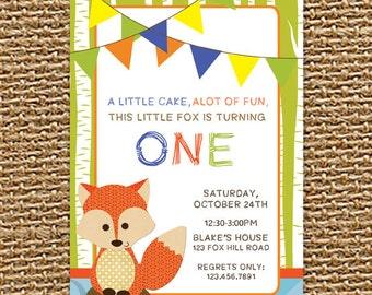 Our Little Fox, Forest Fox, Digital Invitation, Fox Invitation, Birthday Invite, Animal Invite, Woodland Invitation, Printable Invitation
