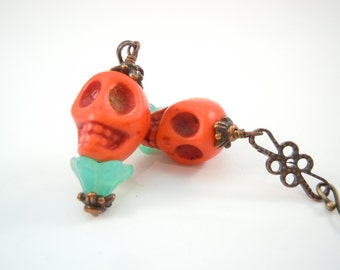 Trick or Treat Halloween Day of the Dead Skull Earrings Fall Bling Fashion 2015