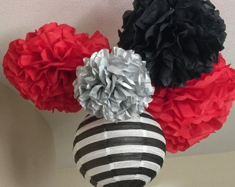 Tissue Paper Pom Pom - set of 10 Poms and Lantern- Your Color Choice - Pirate Party - Jake and the neverland - pirate and mermaid