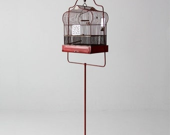 SALE antique bird cage with stand, red Crown birdcage