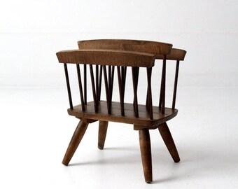 SALE vintage magazine rack, mid century modern wood stand
